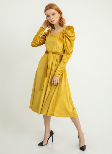 Foremia Karpuz Kol İnci Kadife Elbise Hardal